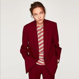 Zara Burgundy Oversized Blazer